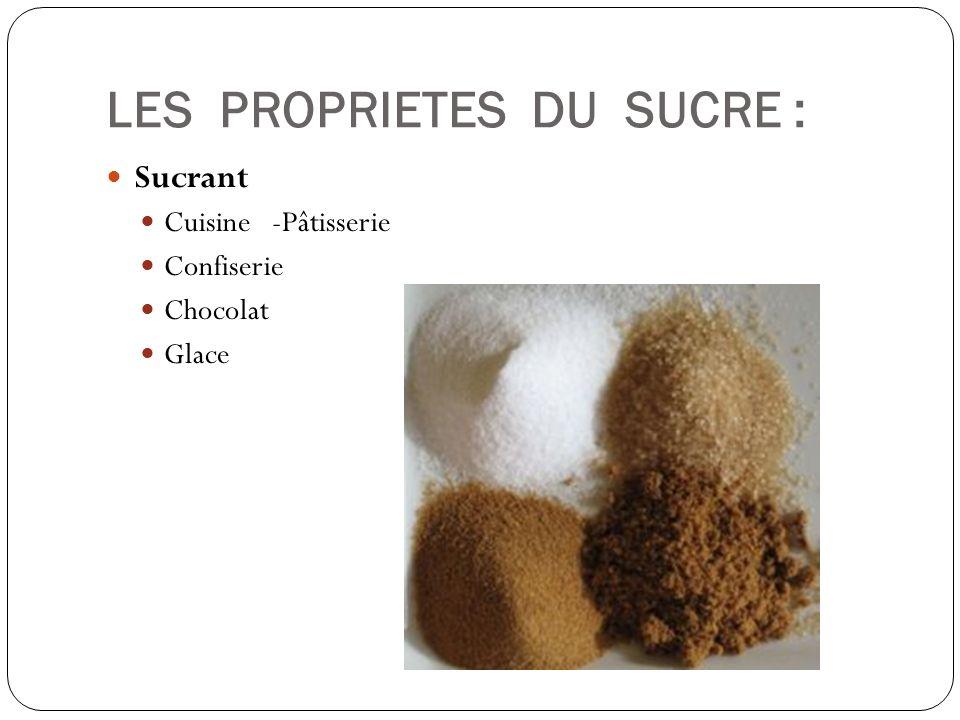 LES PROPRIETES DU SUCRE : Sucrant Cuisine -Pâtisserie Confiserie Chocolat Glace