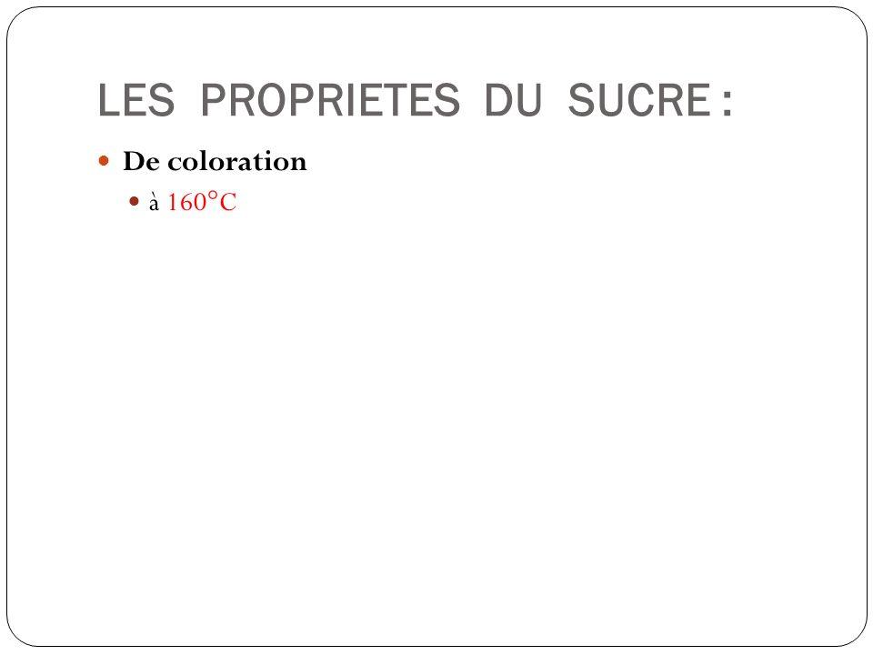 LES PROPRIETES DU SUCRE : De coloration à 160°C