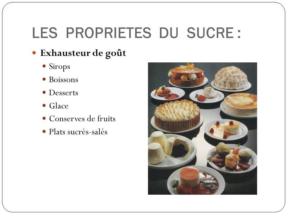 LES PROPRIETES DU SUCRE : Exhausteur de goût Sirops Boissons Desserts Glace Conserves de fruits Plats sucrés-salés