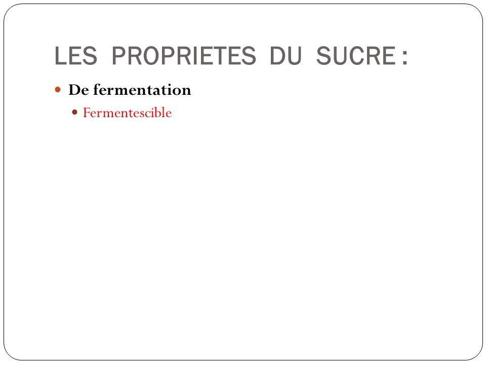 LES PROPRIETES DU SUCRE : De fermentation Fermentescible