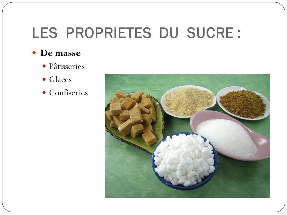 LES PROPRIETES DU SUCRE : De masse Pâtisseries Glaces Confiseries