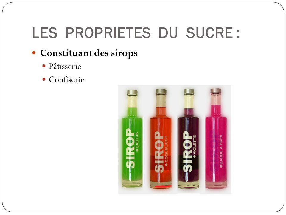 LES PROPRIETES DU SUCRE : Constituant des sirops Pâtisserie Confiserie