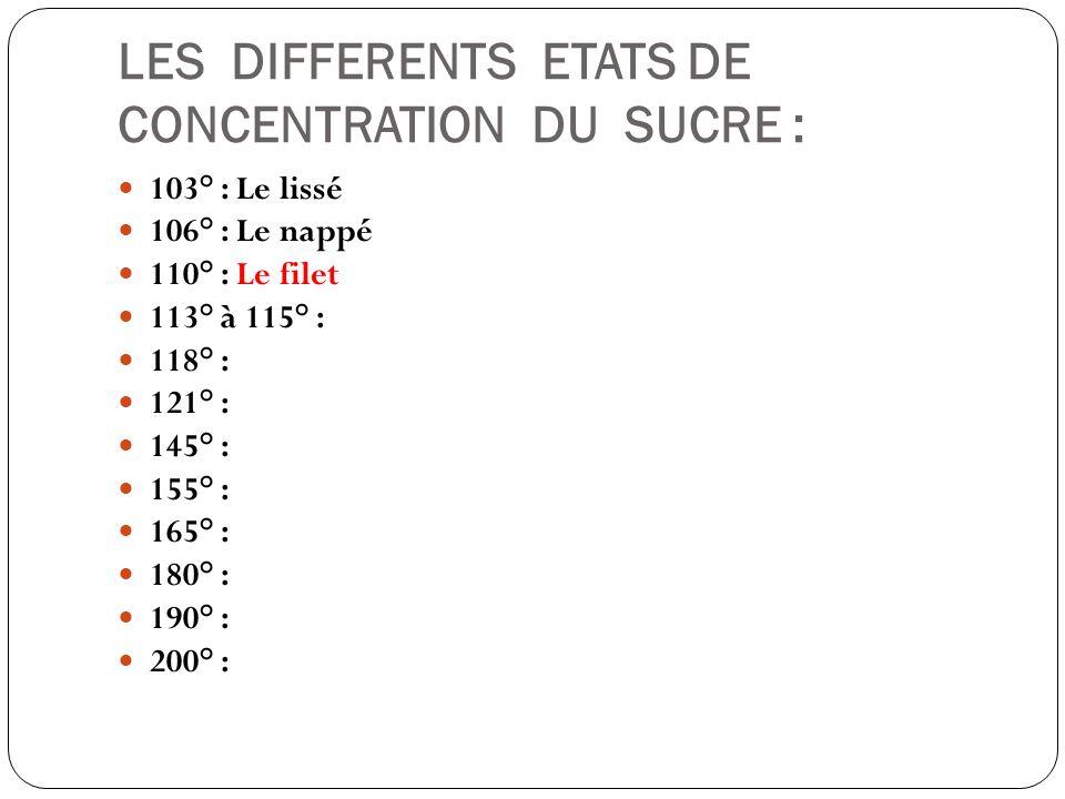 LES DIFFERENTS ETATS DE CONCENTRATION DU SUCRE : 103° : Le lissé 106° : Le nappé 110° : Le filet 113° à 115° : 118° : 121° : 145° : 155° : 165° : 180°