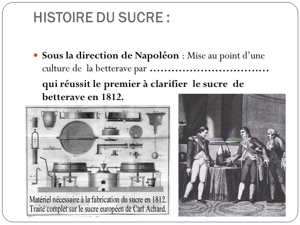 HISTOIRE DU SUCRE : Sous la direction de Napoléon : Mise au point dune culture de la betterave par Benjamin Delessert qui réussit le premier à clarifier le sucre de betterave en 1812.