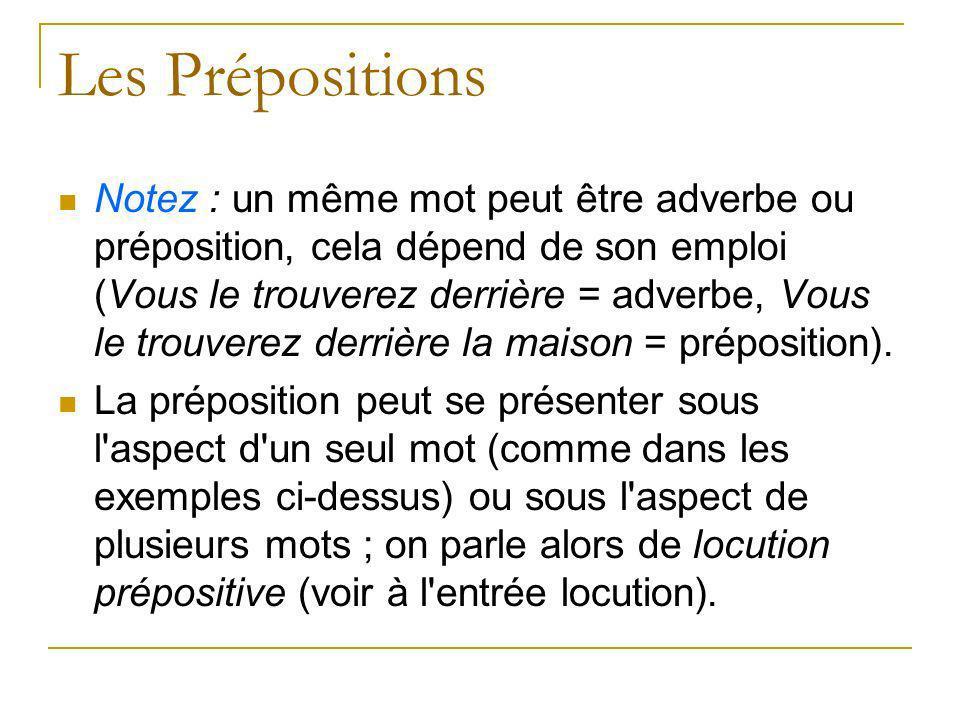 Les Prépositions Notez : un même mot peut être adverbe ou préposition, cela dépend de son emploi (Vous le trouverez derrière = adverbe, Vous le trouve