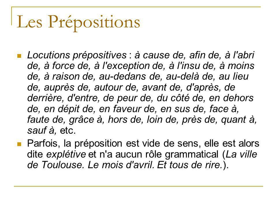 Les Prépositions Locutions prépositives : à cause de, afin de, à l'abri de, à force de, à l'exception de, à l'insu de, à moins de, à raison de, au-ded