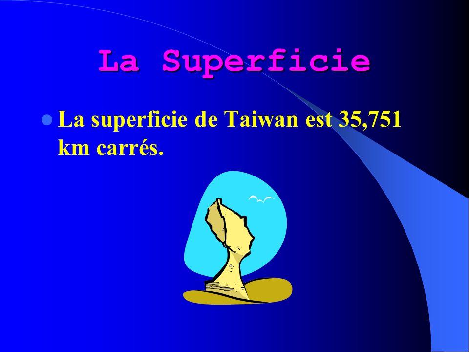 La Superficie La superficie de Taiwan est 35,751 km carrés.