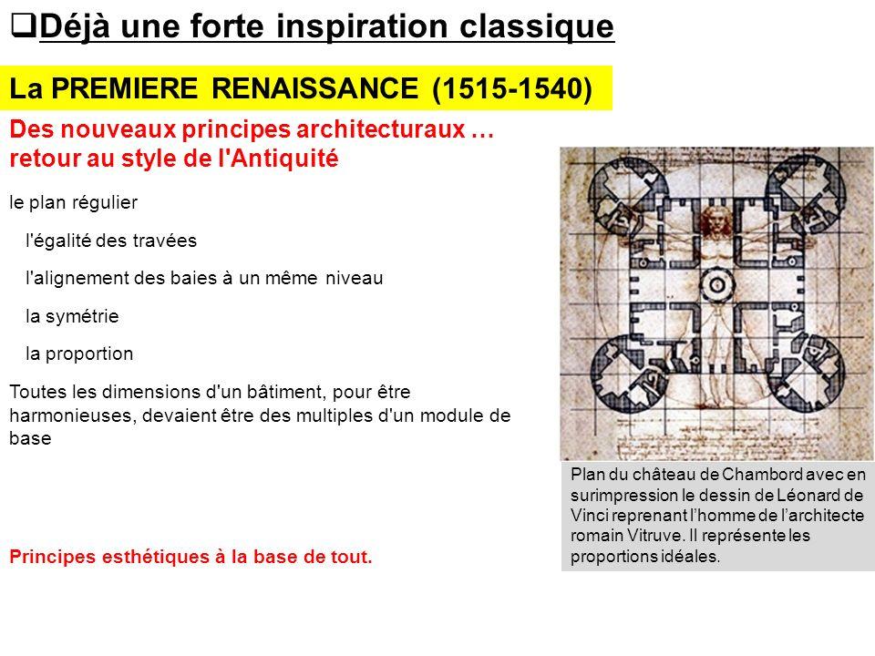 La PREMIERE RENAISSANCE (1515-1540) Déjà une forte inspiration classique Des nouveaux principes architecturaux … retour au style de l'Antiquité le pla