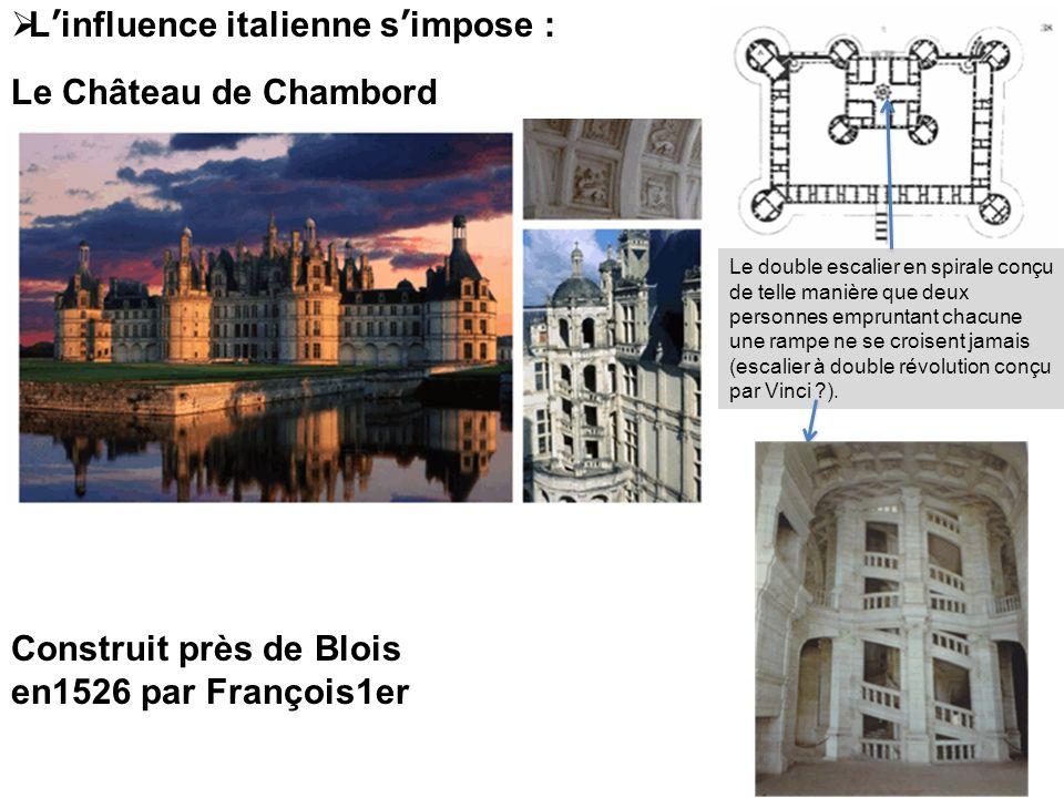Construit près de Blois en1526 par François1er Linfluence italienne simpose : Le Château de Chambord Le double escalier en spirale conçu de telle mani