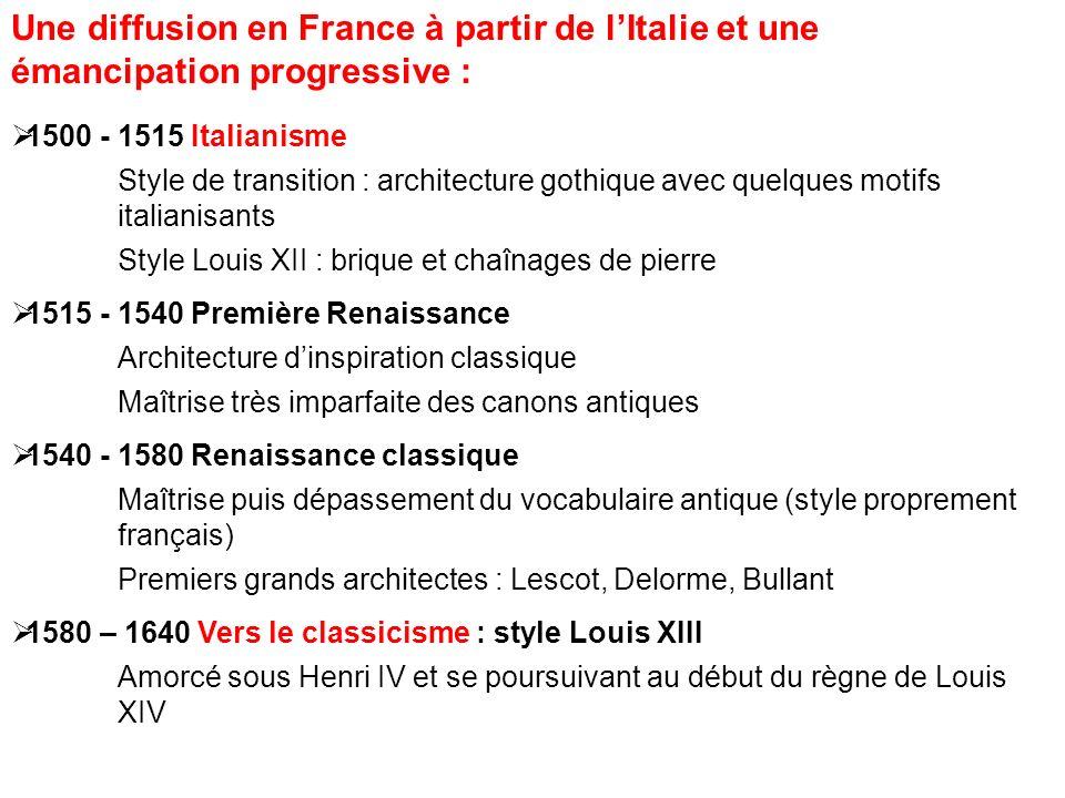 Une diffusion en France à partir de lItalie et une émancipation progressive : 1500 - 1515 Italianisme Style de transition : architecture gothique avec