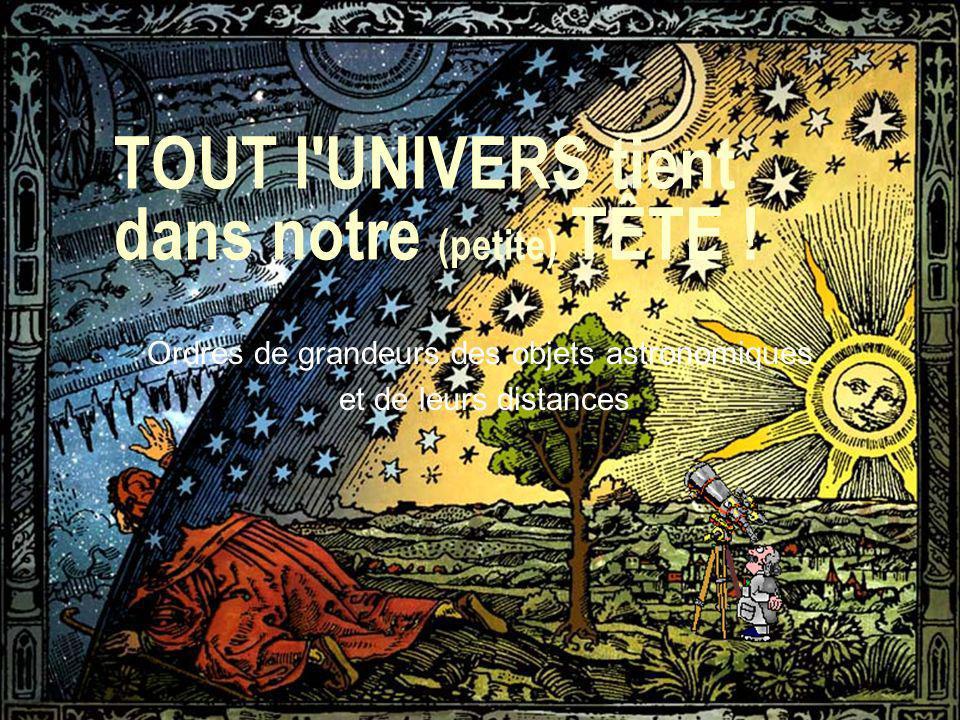 1 TOUT l'UNIVERS tient dans notre (petite) TÊTE ! Ordres de grandeurs des objets astronomiques et de leurs distances