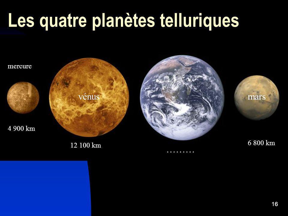 16 Les quatre planètes telluriques mercure 4 900 km vénus 12 100 km ……… mars 6 800 km
