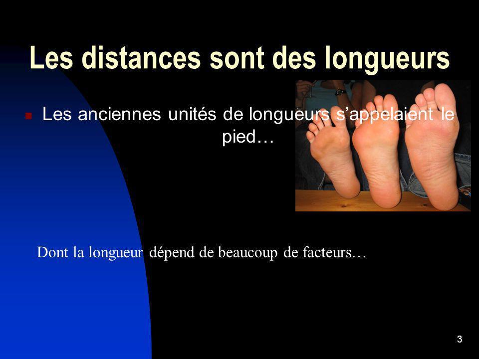 3 Les distances sont des longueurs Les anciennes unités de longueurs sappelaient le pied… Dont la longueur dépend de beaucoup de facteurs…
