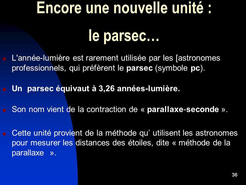 36 Encore une nouvelle unité : le parsec… L'année-lumière est rarement utilisée par les [astronomes professionnels, qui préfèrent le parsec (symbole p