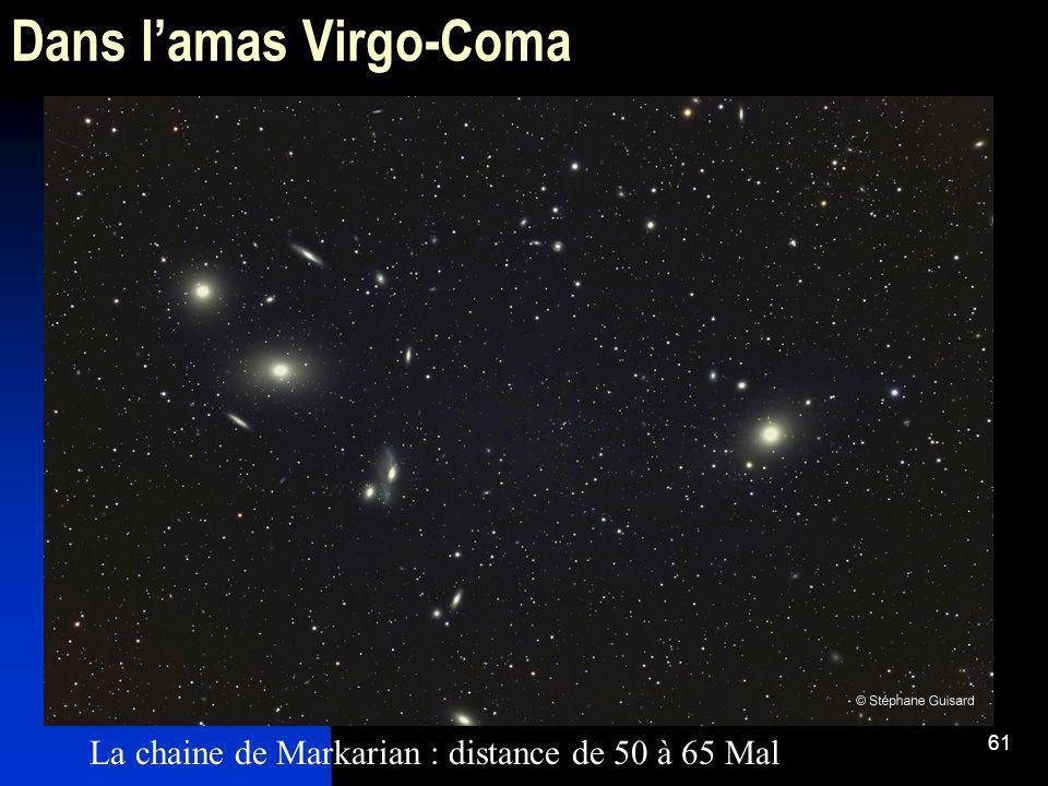 61 Dans lamas Virgo-Coma La chaine de Markarian : distance de 50 à 65 Mal