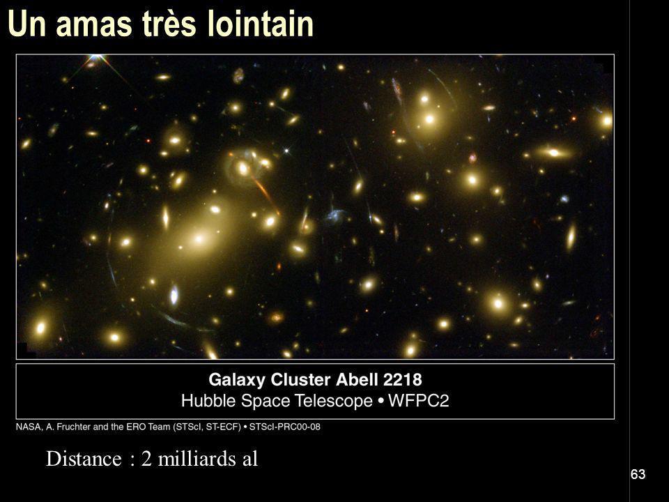 63 Un amas très lointain Distance : 2 milliards al