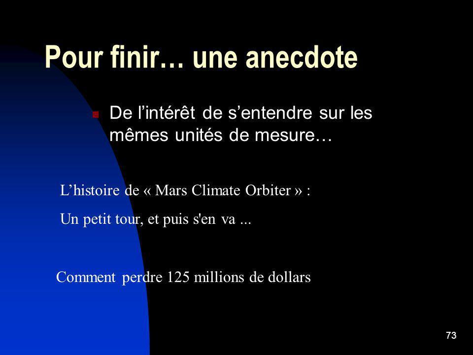 73 Pour finir… une anecdote De lintérêt de sentendre sur les mêmes unités de mesure… Lhistoire de « Mars Climate Orbiter » : Un petit tour, et puis s'