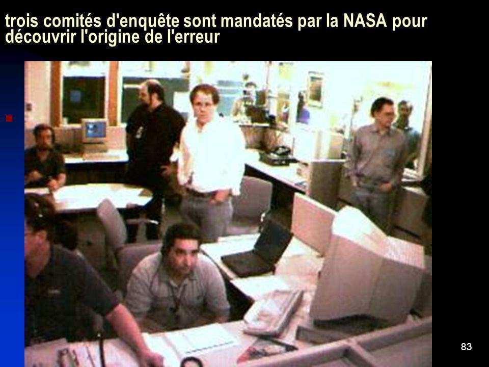 83 trois comités d'enquête sont mandatés par la NASA pour découvrir l'origine de l'erreur Le rapport final sera publié le 1er février 2000.