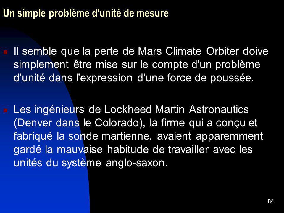 84 Un simple problème d'unité de mesure Il semble que la perte de Mars Climate Orbiter doive simplement être mise sur le compte d'un problème d'unité