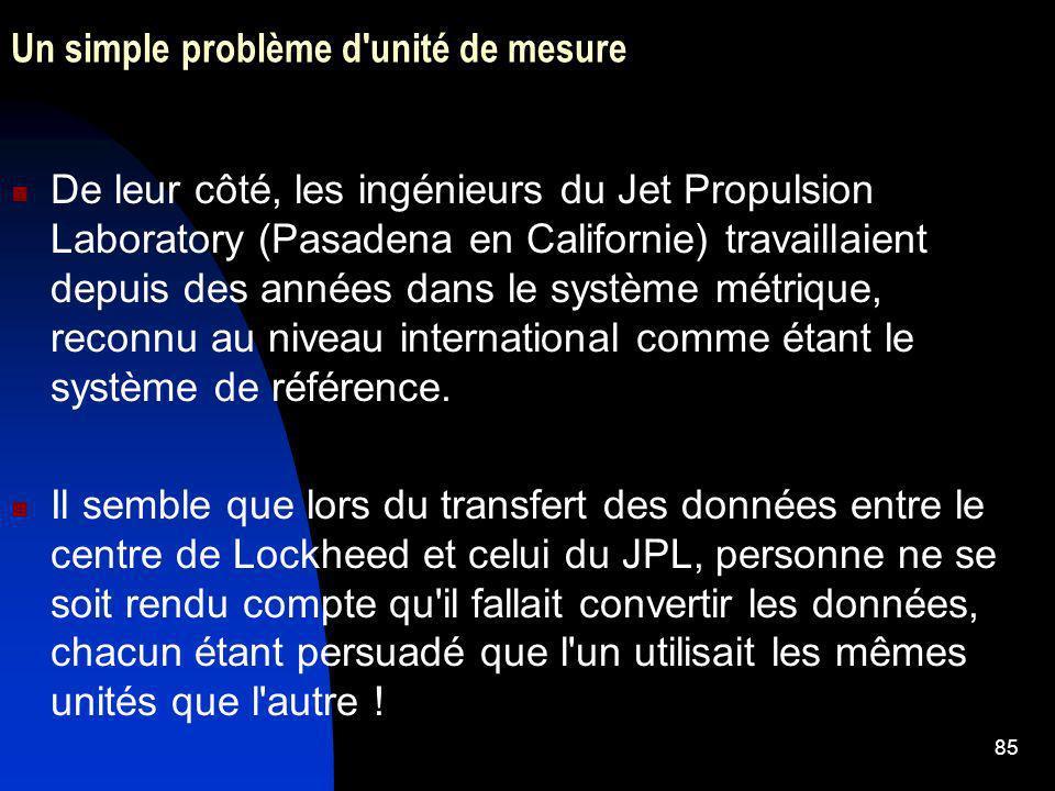 85 Un simple problème d'unité de mesure De leur côté, les ingénieurs du Jet Propulsion Laboratory (Pasadena en Californie) travaillaient depuis des an