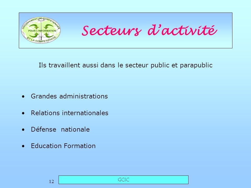 GCIC 12 Secteurs dactivité Grandes administrations Relations internationales Défense nationale Education Formation Ils travaillent aussi dans le secteur public et parapublic