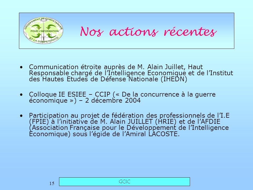 GCIC 15 Nos actions récentes Communication étroite auprès de M.