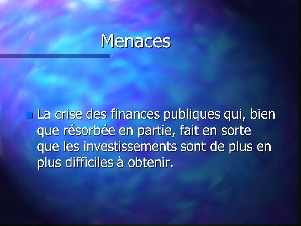 Menaces n La crise des finances publiques qui, bien que résorbée en partie, fait en sorte que les investissements sont de plus en plus difficiles à obtenir.