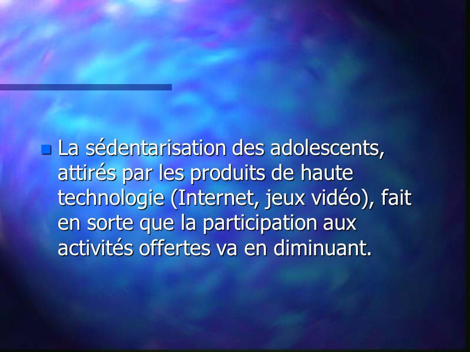 n La sédentarisation des adolescents, attirés par les produits de haute technologie (Internet, jeux vidéo), fait en sorte que la participation aux activités offertes va en diminuant.