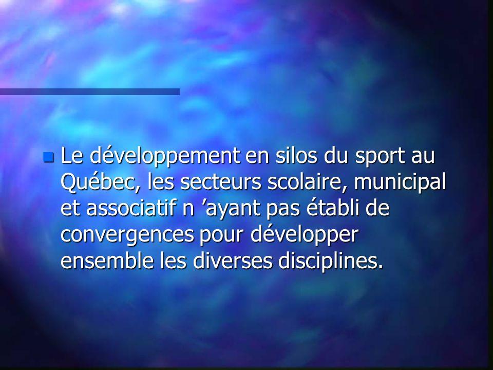 n Le développement en silos du sport au Québec, les secteurs scolaire, municipal et associatif n ayant pas établi de convergences pour développer ensemble les diverses disciplines.
