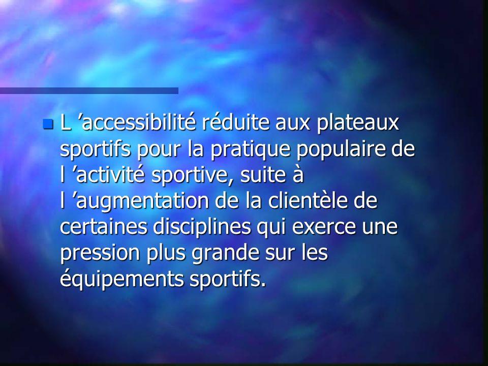 n L accessibilité réduite aux plateaux sportifs pour la pratique populaire de l activité sportive, suite à l augmentation de la clientèle de certaines disciplines qui exerce une pression plus grande sur les équipements sportifs.