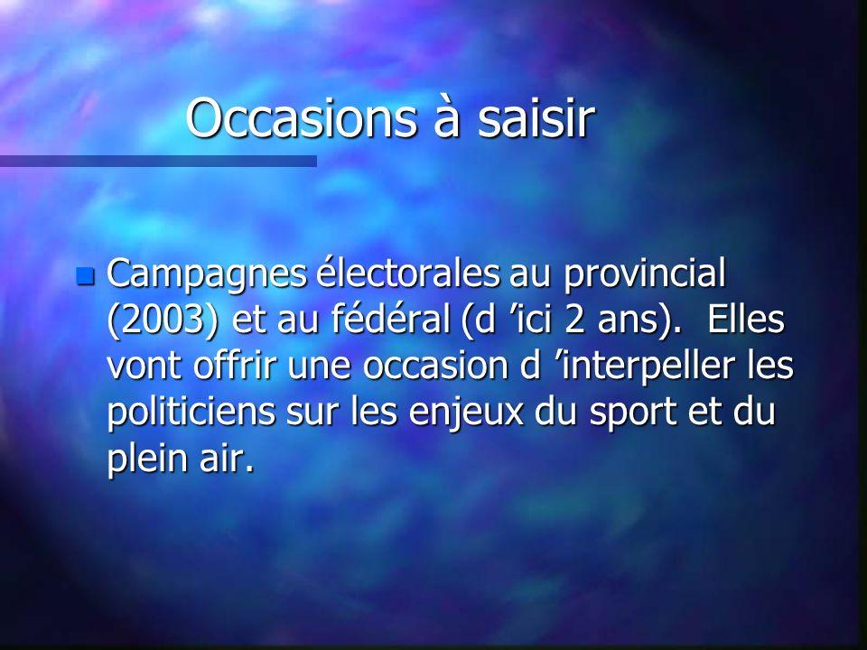 Occasions à saisir n Campagnes électorales au provincial (2003) et au fédéral (d ici 2 ans).