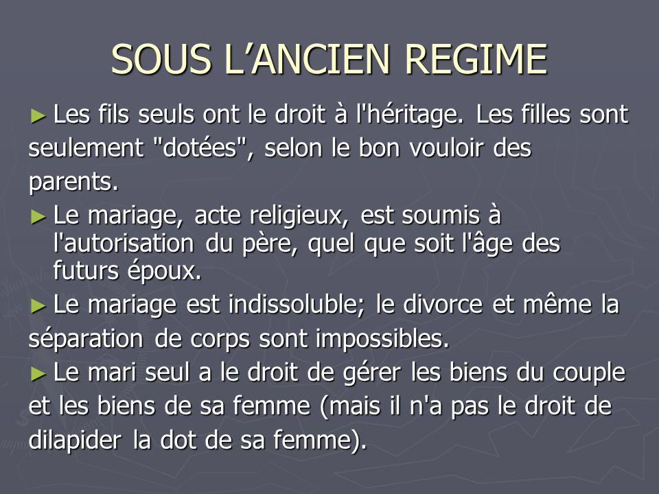 SOUS LANCIEN REGIME Les fils seuls ont le droit à l'héritage. Les filles sont Les fils seuls ont le droit à l'héritage. Les filles sont seulement