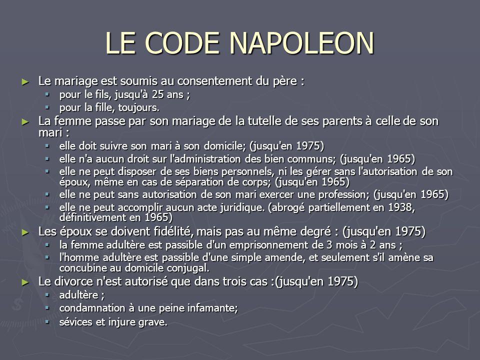LE CODE NAPOLEON Le mariage est soumis au consentement du père : Le mariage est soumis au consentement du père : pour le fils, jusqu à 25 ans ; pour le fils, jusqu à 25 ans ; pour la fille, toujours.