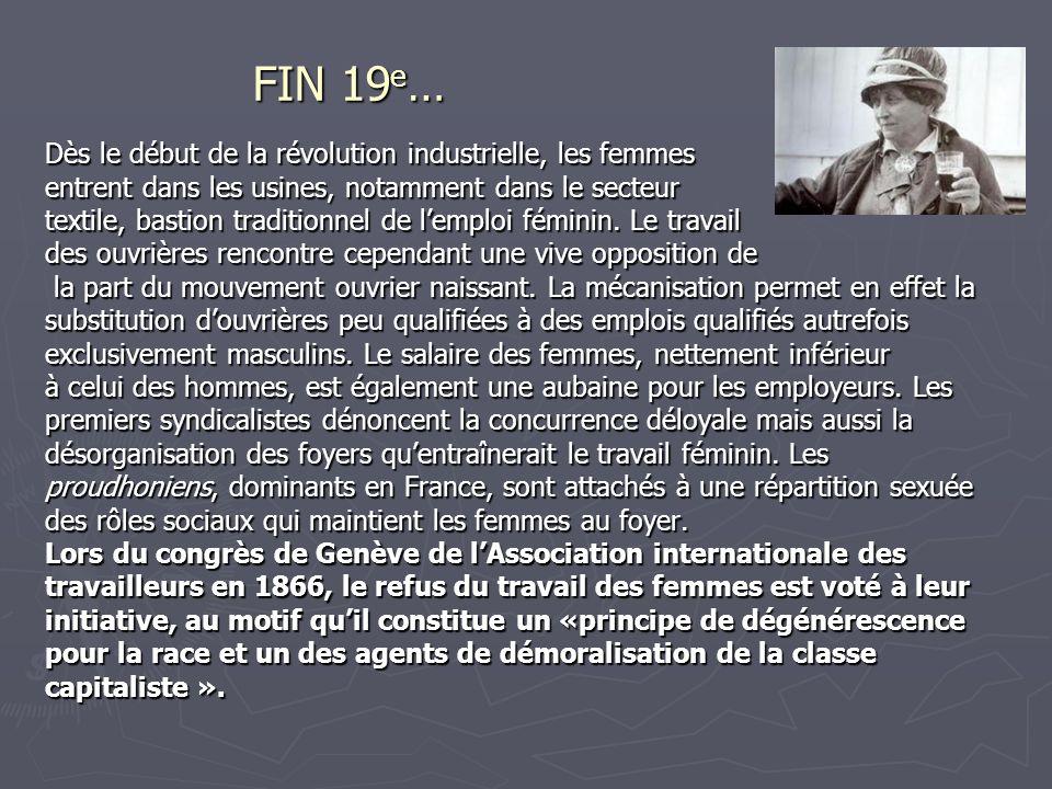 FIN 19 e … Dès le début de la révolution industrielle, les femmes entrent dans les usines, notamment dans le secteur textile, bastion traditionnel de lemploi féminin.