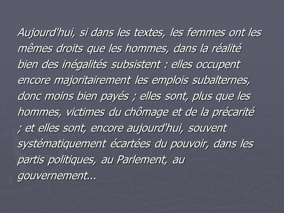 Aujourd hui, si dans les textes, les femmes ont les mêmes droits que les hommes, dans la réalité bien des inégalités subsistent : elles occupent encore majoritairement les emplois subalternes, donc moins bien payés ; elles sont, plus que les hommes, victimes du chômage et de la précarité ; et elles sont, encore aujourd hui, souvent systématiquement écartées du pouvoir, dans les partis politiques, au Parlement, au gouvernement...