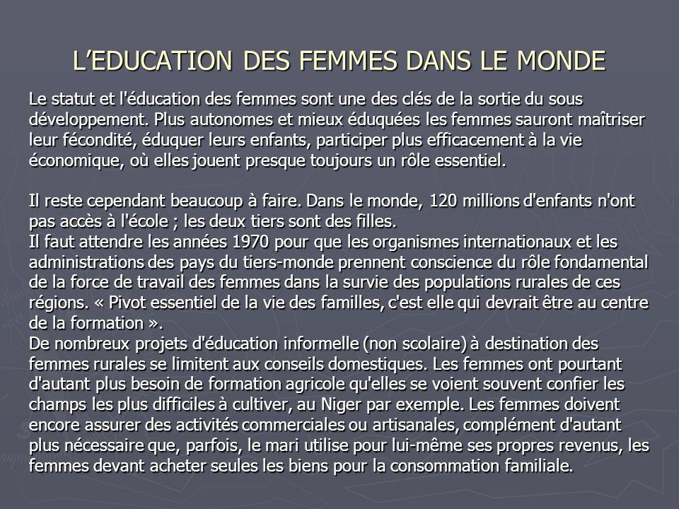 LEDUCATION DES FEMMES DANS LE MONDE Le statut et l'éducation des femmes sont une des clés de la sortie du sous développement. Plus autonomes et mieux