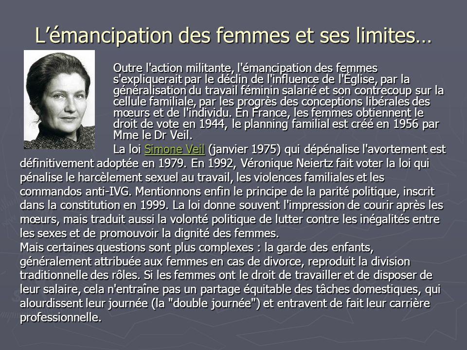 Lémancipation des femmes et ses limites… Outre l'action militante, l'émancipation des femmes s'expliquerait par le déclin de l'influence de l'Église,