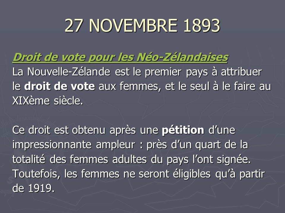 27 NOVEMBRE 1893 Droit de vote pour les Néo-Zélandaises Droit de vote pour les Néo-Zélandaises La Nouvelle-Zélande est le premier pays à attribuer le droit de vote aux femmes, et le seul à le faire au XIXème siècle.