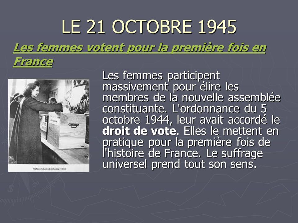 LE 21 OCTOBRE 1945 Les femmes votent pour la première fois en Les femmes votent pour la première fois en France Les femmes participent massivement pou