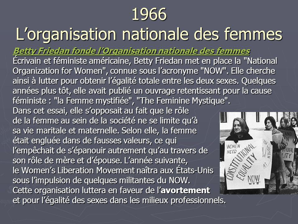 1966 Lorganisation nationale des femmes Betty Friedan fonde lOrganisation nationale des femmes Betty Friedan fonde lOrganisation nationale des femmes Écrivain et féministe américaine, Betty Friedan met en place la National Organization for Women , connue sous lacronyme NOW .