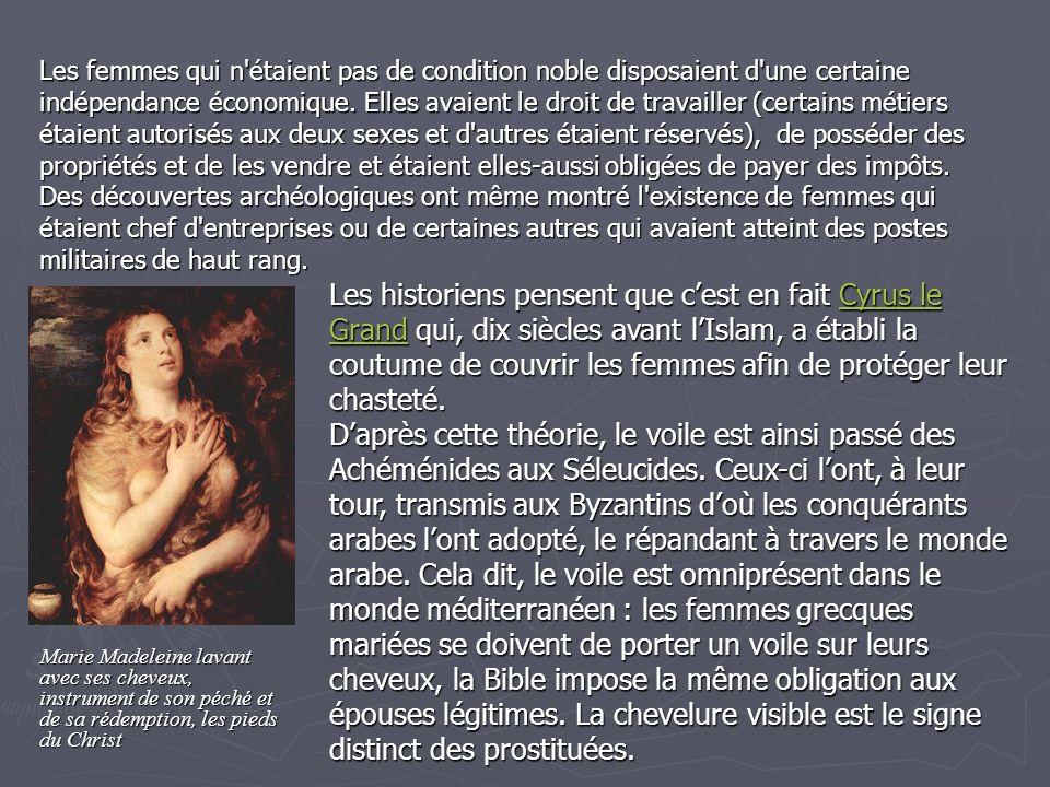 TOUJOURS DANS LANTIQUITE… Les femmes d Étrurie furent certainement celles qui, dans l antiquité, eurent relativement le plus de liberté, et le statut le moins contraignant.