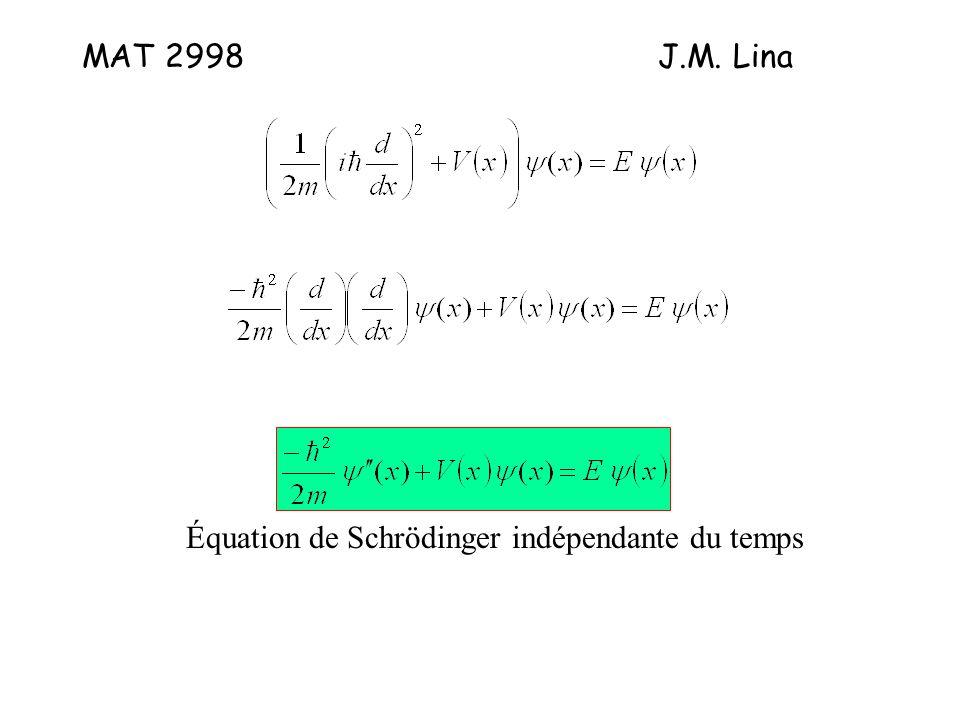 MAT 2998J.M. Lina Équation de Schrödinger indépendante du temps