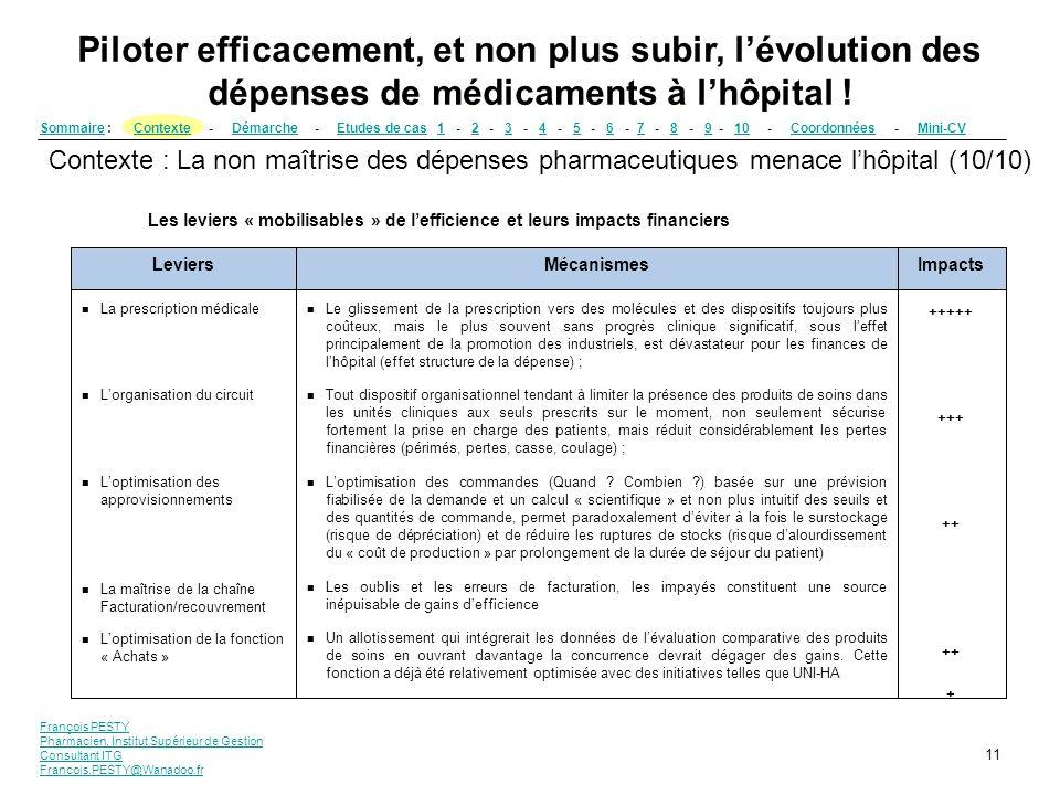 François PESTY Pharmacien, Institut Supérieur de Gestion Consultant ITG Francois.PESTY@Wanadoo.fr 11 SommaireSommaire : Contexte - Démarche - Etudes d