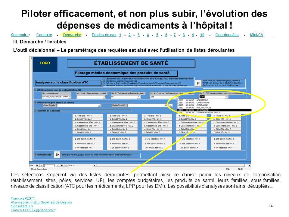 François PESTY Pharmacien, Institut Supérieur de Gestion Consultant ITG Francois.PESTY@Wanadoo.fr 14 III. Démarche / livrables Loutil décisionnel – Le