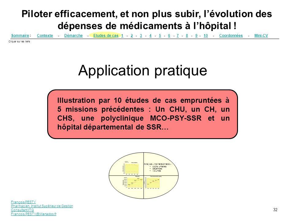 François PESTY Pharmacien, Institut Supérieur de Gestion Consultant ITG Francois.PESTY@Wanadoo.fr 32 SommaireSommaire : Contexte - Démarche - Etudes d