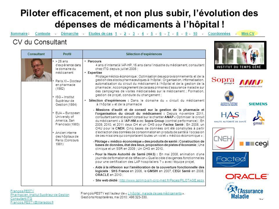 François PESTY Pharmacien, Institut Supérieur de Gestion Consultant ITG Francois.PESTY@Wanadoo.fr 45 Piloter efficacement, et non plus subir, lévoluti