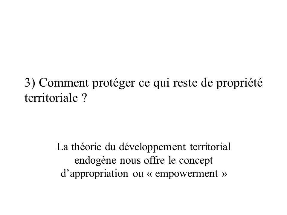 3) Comment protéger ce qui reste de propriété territoriale ? La théorie du développement territorial endogène nous offre le concept dappropriation ou