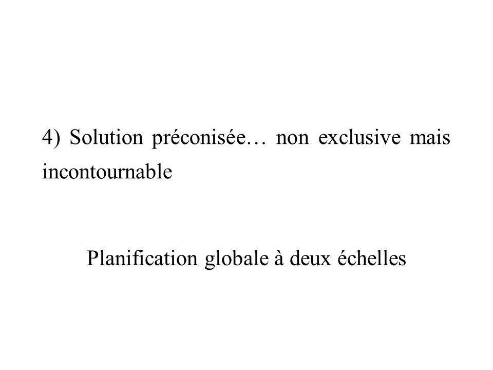 4) Solution préconisée… non exclusive mais incontournable Planification globale à deux échelles