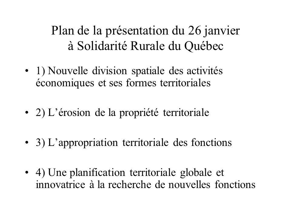 Plan de la présentation du 26 janvier à Solidarité Rurale du Québec 1) Nouvelle division spatiale des activités économiques et ses formes territoriale