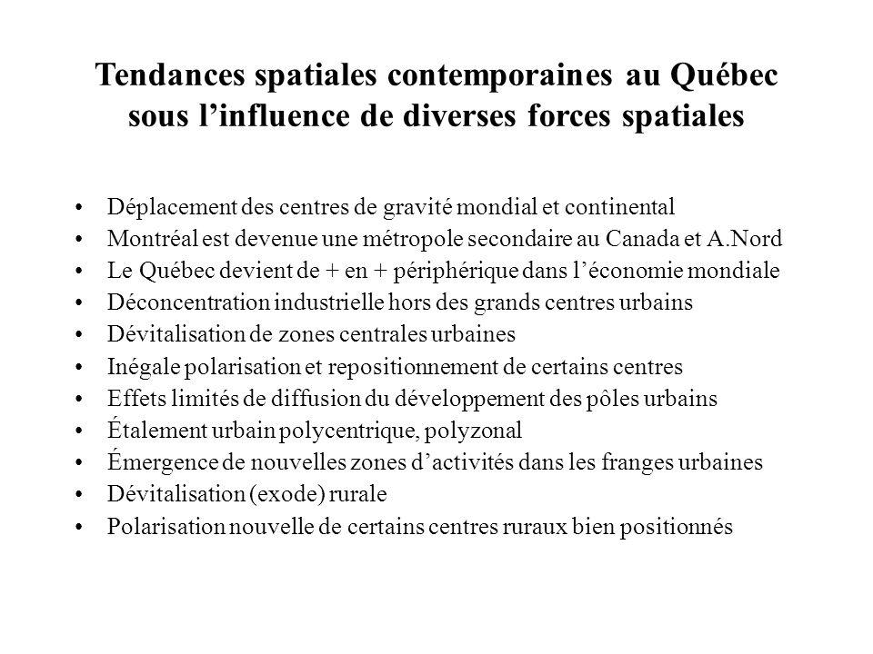 Tendances spatiales contemporaines au Québec sous linfluence de diverses forces spatiales Déplacement des centres de gravité mondial et continental Mo